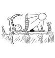 cartoon stick man relaxing on airbed air mattress vector image