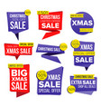 christmas sale banner set discount tag vector image