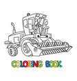 combine or lawn mower with eyes coloring book vector image
