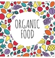 Hand-drawn organic food concept Round shape with vector image