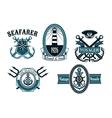 Nautical seafarer voyager and anchors symbols vector image