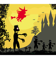 zombie attacks - funny card for Halloween vector image