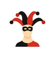 Jester with cap icon flat style vector image