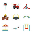 playground equipment icons set flat style vector image