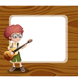 A boy with a guitar standing in front of the empty vector image