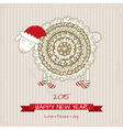 2015 Happy new year greeting card with cute sheep vector image