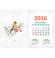 Calendar for 2016 December vector image