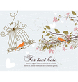 love birds with floral vector image vector image