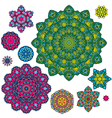 colorful round ornaments kaleidoscope floral patte vector image