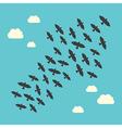 Conceptual birds flying upwards vector image