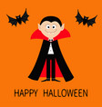 happy halloween count dracula wearing black and vector image