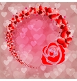 Pink background with silhouette of rose vector image