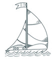 sailboat on the sea outline drawings for coloring vector image