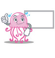 thumbs up with board cute jellyfish character vector image