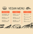 vegan cafe menu identity typographic design vector image