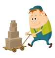 Worker with hand cart vector image