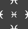 Pisces zodiac sign sign Seamless pattern on a gray vector image