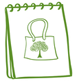 A green notebook with a bag at the cover page vector image vector image