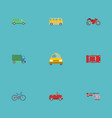 flat icons cab motorbike chopper and other vector image