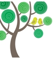 Decorative composition with two birds on the tree vector image