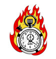 cartoon image of flaming stop watch vector image