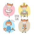 collection of little girl in different vector image