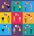 colourful characters with speech bubbles with vector image