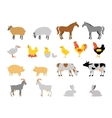 Farm animal collection set Flat style character vector image