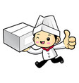 funny chef character delivery is going on vector image