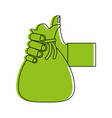 hand holding canvas bag icon image vector image