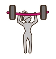 pictogram girl weight lifting barbell fitness vector image