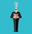 rabbit businessman in suit wild animal people vector image