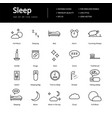 sleeping line icons vector image