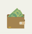 wallet full of green dollars flat style vector image
