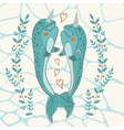 Couple of narwhals in love vector image