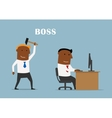 Boss with hammer ready to beat manager vector image