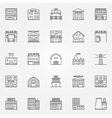 City buildings icons set vector image