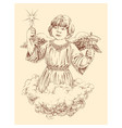 christmas angel holding a light star and a bell vector image