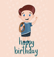 happy birthday kids postcard template vector image