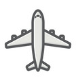 plane filled outline icon transport air vehicle vector image
