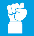 raised up clenched male fist icon white vector image