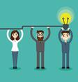 Synergy concept Man hold bulb vector image
