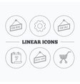 Shopping cart for rent and special offer icons vector image