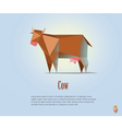 polygonal of red cow with milk vector image