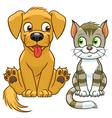 Cute cartoon cat and dog vector image