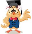 cute owl wearing eyeglasses cartoon vector image