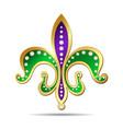 Golden purple and green fleur-de-lis vector image vector image