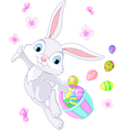 bunny hiding eggs vector image