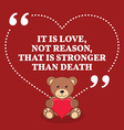 Inspirational love marriage quote It is love not vector image