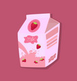 strawberry flavored milk carton box pink vector image